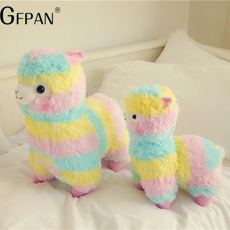 Nueva moda 1 piezas 35/45 cm Arco Iris Alpaca de peluche de felpa ovejas de juguete de peluche de Alpaca de peluche de animales regalo para las niñas