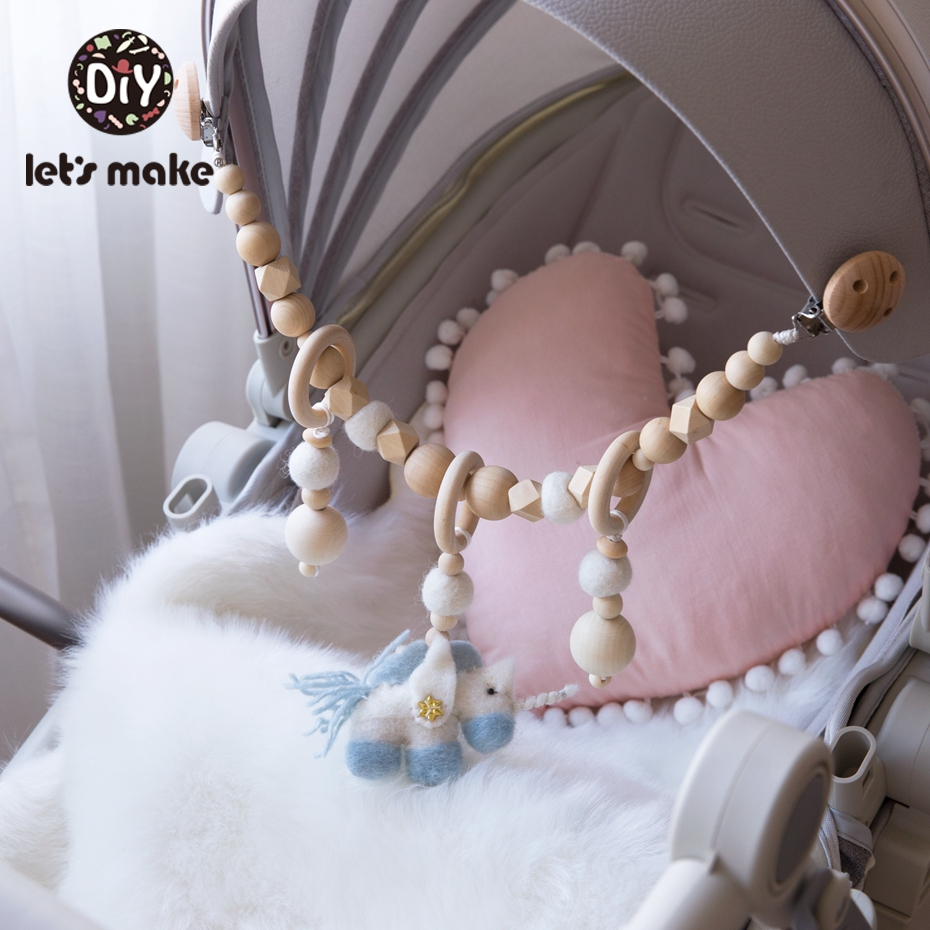 Let'S Make Baby Teething Pacifier Necklace Wool Unicorn Stroller Chain Houten Speelgoed Baby Toys For Newborns Teether Chain