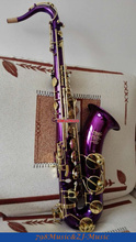 professional new Purple Body and Gold Lacquer Keys tenor Saxophone with Sax Case