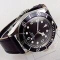 Повседневные мужские наручные часы 41 мм с черным циферблатом и светящимися отметками  сапфировое стекло  автоматические мужские часы