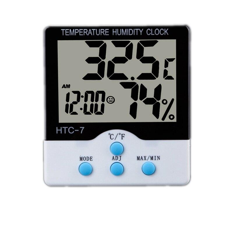 LCD Elektronische Thermometer Hydrometer Digitale Indoor-tisch Temperatur-Und Feuchtigkeitsmessgerät Clock Täglichen Alarm C/F Schalter Stehen HTC-7