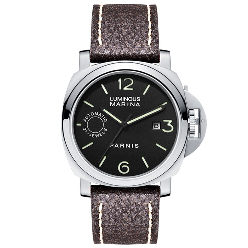 Parnis Commander IIV Seriers Luminous Mens Leather Watchband Automatic Self-Wind Mechanical Watch Wristwatch clocks and colours nomad