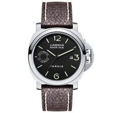 Parnis Commander IIV Seriers Luminous Mens Leather Watchband Automatic Self-Wind Mechanical Watch Wristwatch