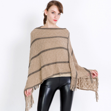 все цены на women pullover poncho knit feminino shawl fringe shawls capes stole overpull femme stripe poncho shawls pullon coat