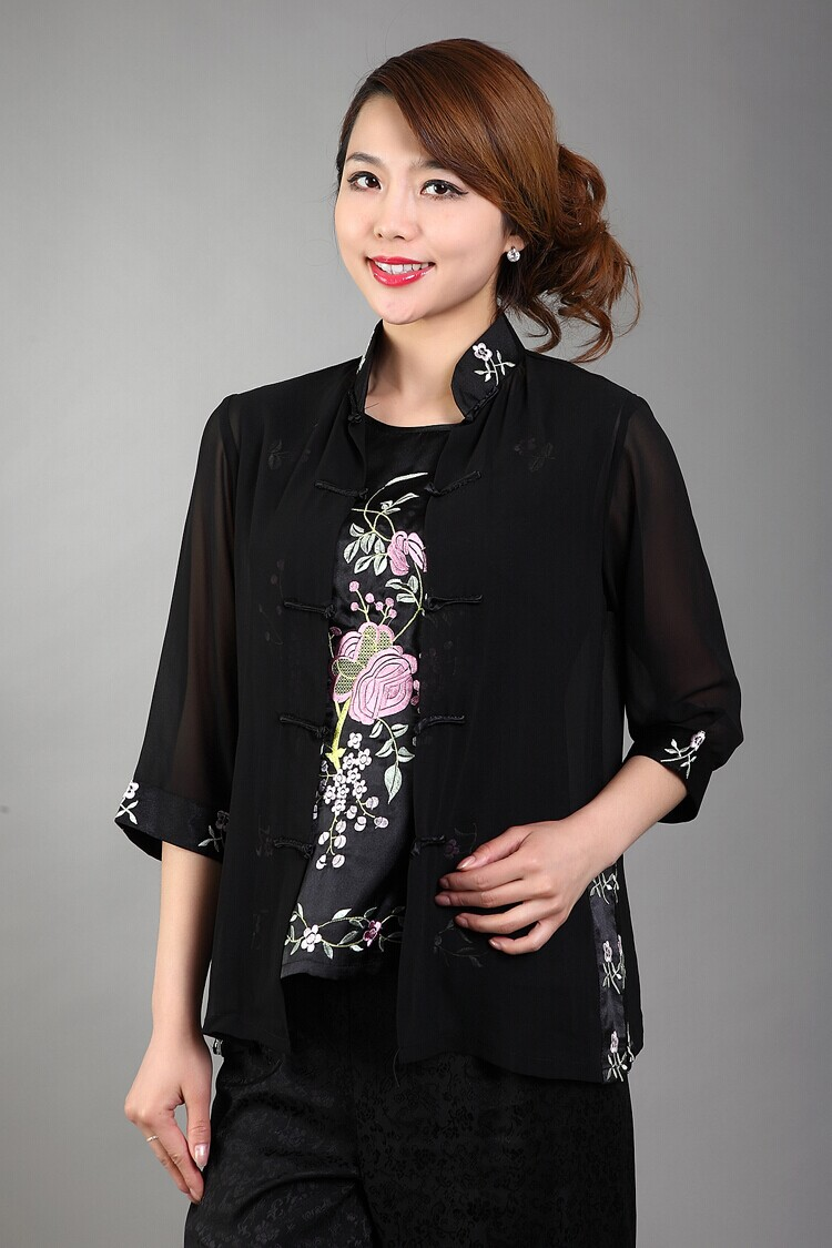 Elegant Flowers Black Female Shirt Twinset Chinese Style Chiffon Blouse Embroidery Blouse&Underwear S M L XL XXL XXXL WS046
