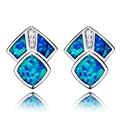 O Projeto original Leal Azul Opal Gem Brincos de Jóias Finas Jóias de Prata Do Parafuso Prisioneiro para As Mulheres Presente de Natal Precioso Estilo OL Acessórios