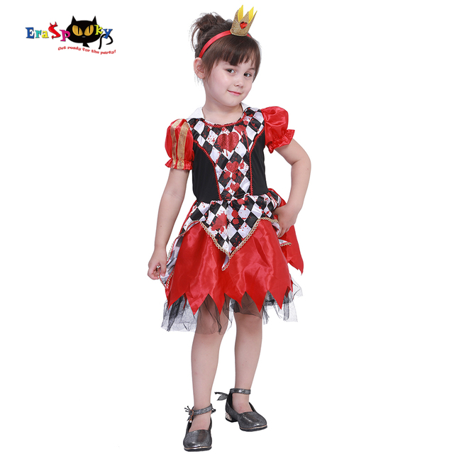 eraspooky carnival royal red queen of hearts costume girls dress halloween costume for kids princess cosplay