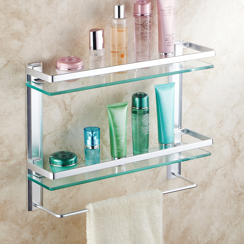 bathroom shelves toughened glass bathroom rack super stainless steel wire drawing single bed bathroom rack shelf  ICD60032 pivot ring cervical tractor pull up seven generations adopts stainless stainless steel drawing rack