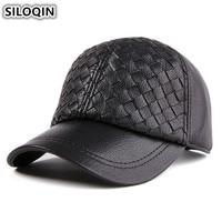 SILOQIN New Genuine Leather Hats For Men Women Adjustable Size Winter Thick Warm Baseball Cap Men's Sheepskin Hat Women's Caps