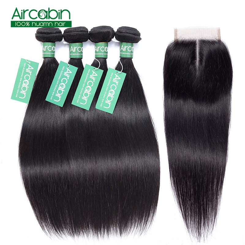 Brazilian Straight Hair Weave 4 Bundles With Lace Closure Natural Color 100 Human Hair Extension Hair