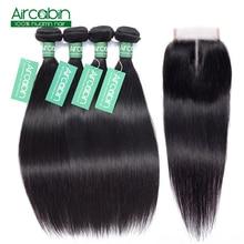 Бразильские Прямые Волосы  Плетение 4 Связки С Закрытием Кружева Натуральный Цвет 100%