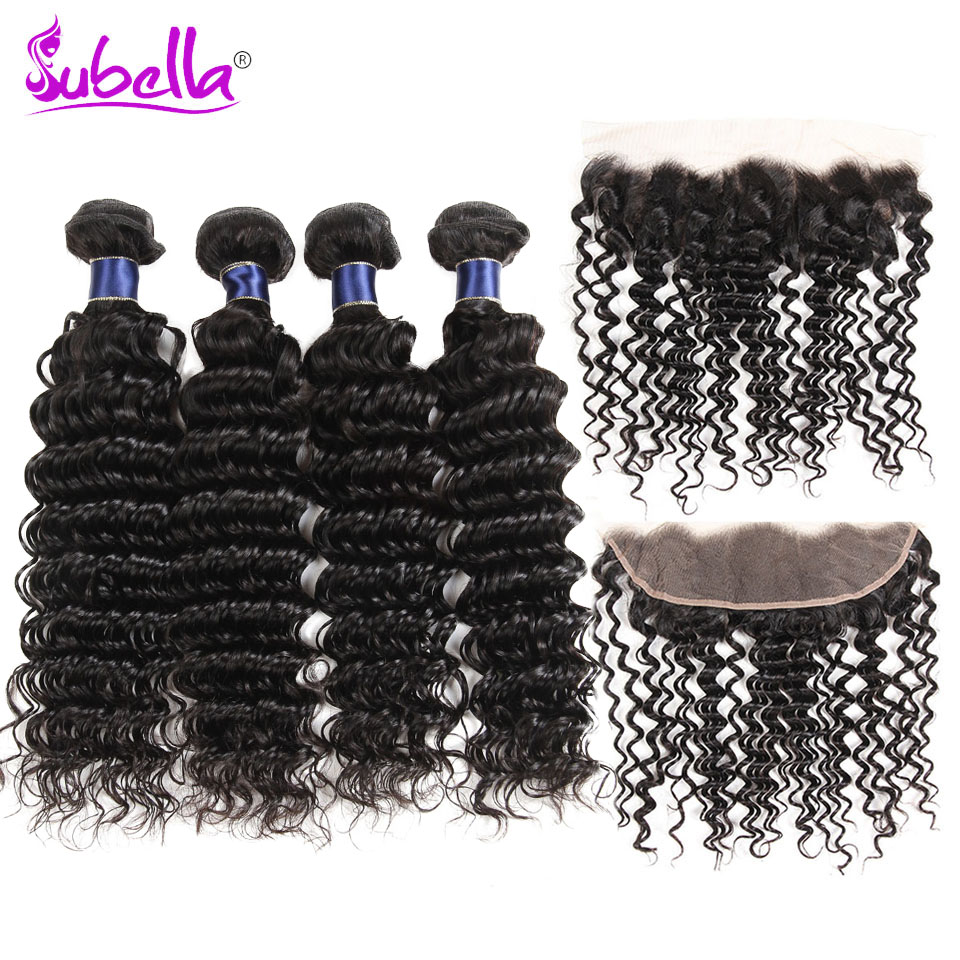 Subella Indian Deep Wave 1Bundles With Frontal Human Hair 4 bundles with Closure 13x4 Nonremy Hair Weave Bundles