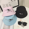 New 2016 Fashion Dog Embroidery Cotton Plain Brand Bucket Hat Women lovely Cap bob chapeau Camping Outdoor Foldable Fishing Hat