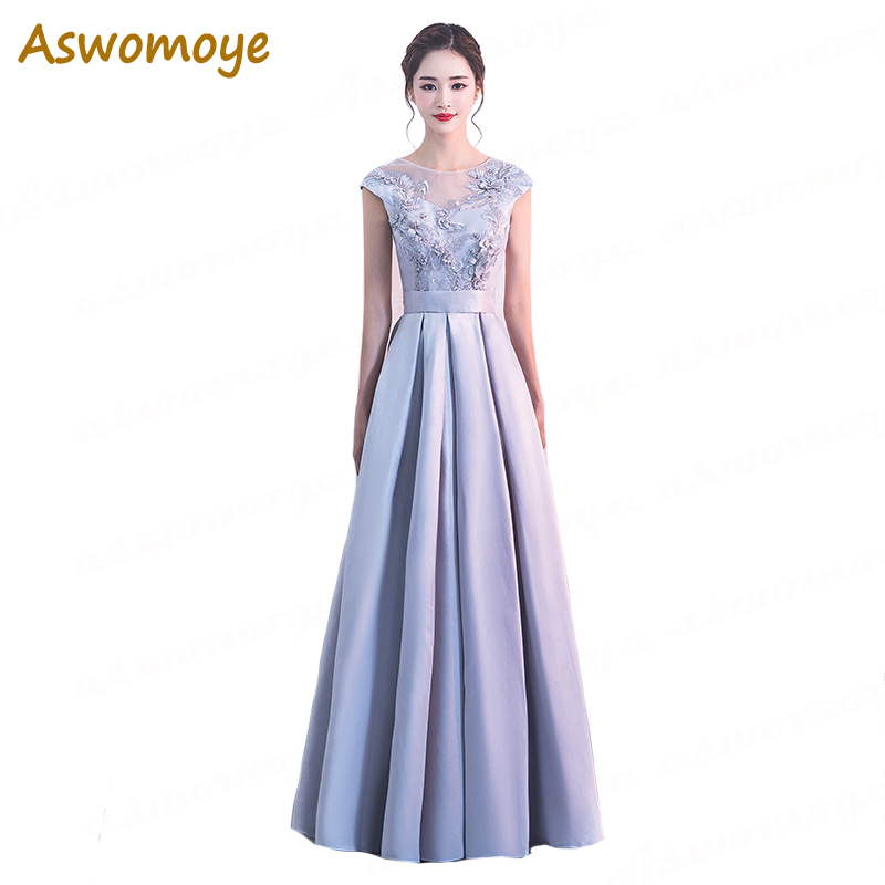 Aswomoye Elegant Women   Evening     Dress   2018 New A-Line Prom   Dresses   Appliques Flower Party   Dress   Illusion O-Neck robe de soiree