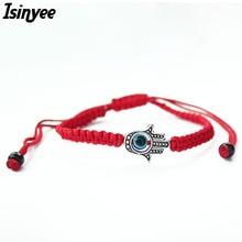 ISINYEE Lucky Kabbalah Red String Thread Hamsa Bracelets Blue Turkish Evil Eye Charm Women Handmade Fatima Friendship Jewelry