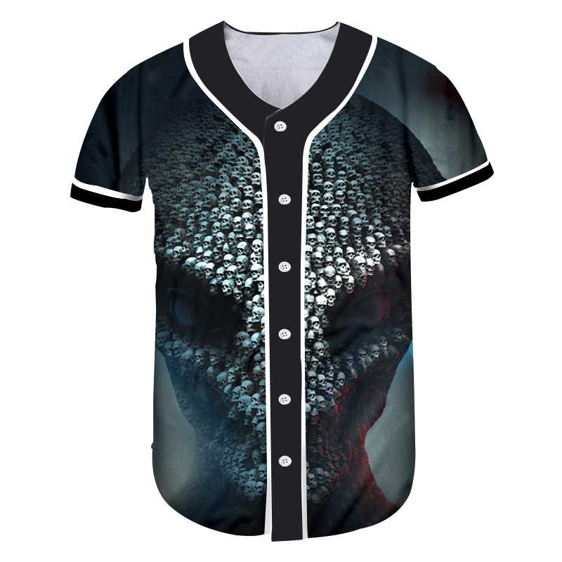 Ogkb Tombol T-shirt Wanita Hitam Tombol Homme Baseball Kemeja 3D Streetwear Kaos Tshirts Hiphop Gothic Harajuku Punk Unisex