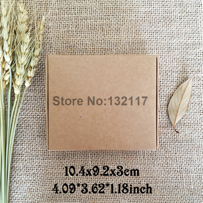50pcs/lot 10.4*9.2*3cm Cardboard Box Paper Cartons Kraft Paper Box Packaging for Soap Jewelry Box Gift Boxes Storage Caixa