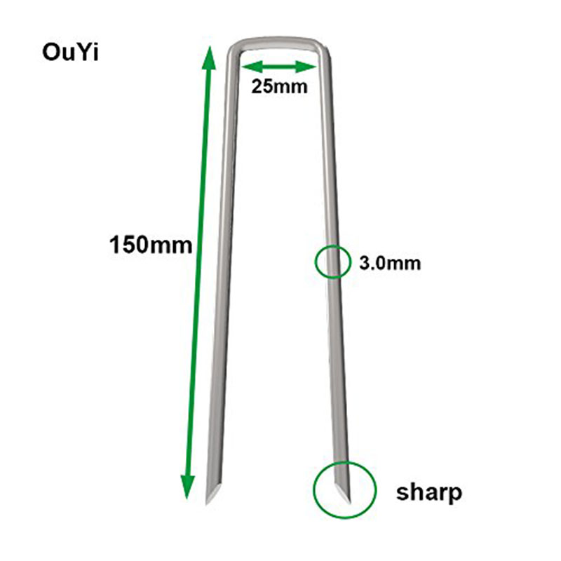New Garden Pegs 100x3.0mm x 6 inch /150mm Galvanized Landscape Ground Staples, Rust Resistant Steel Sod Lawn U Pins - Securing