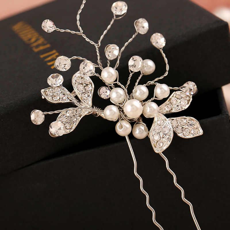 614774a9b9 Handmade Hair Accessories Vintage Silver Leaf Flower Hair Sticks Wedding  Pearl Hair Pin Bridal Large Crystal Hair Clip Headpiece