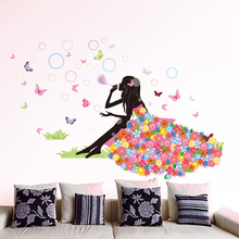 [shijuekongjian] Fairy Girl Wall Stickers Vinyl DIY Butterflies Bubbles Mural Decals for Kids Room Baby Bedroom Decoration