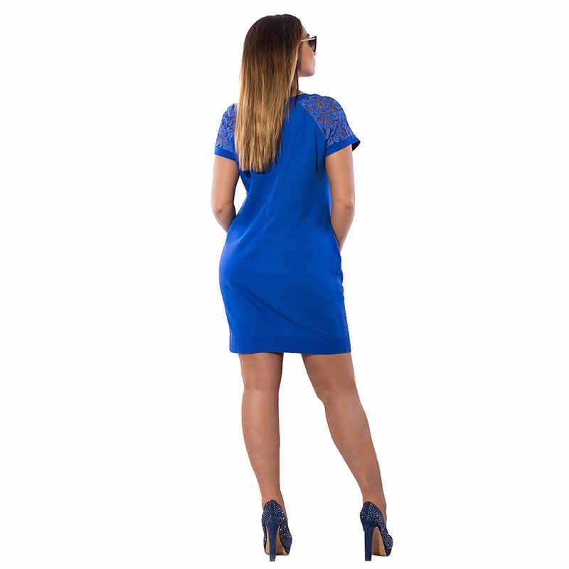 2019 casual Vestito Da Estate Del Manicotto Del Merletto Elegante Bodycon Del Partito Del Vestito Più Il Formato Delle Donne Del Vestito Mini Abito Dritto 5XL 6XL Robe femme
