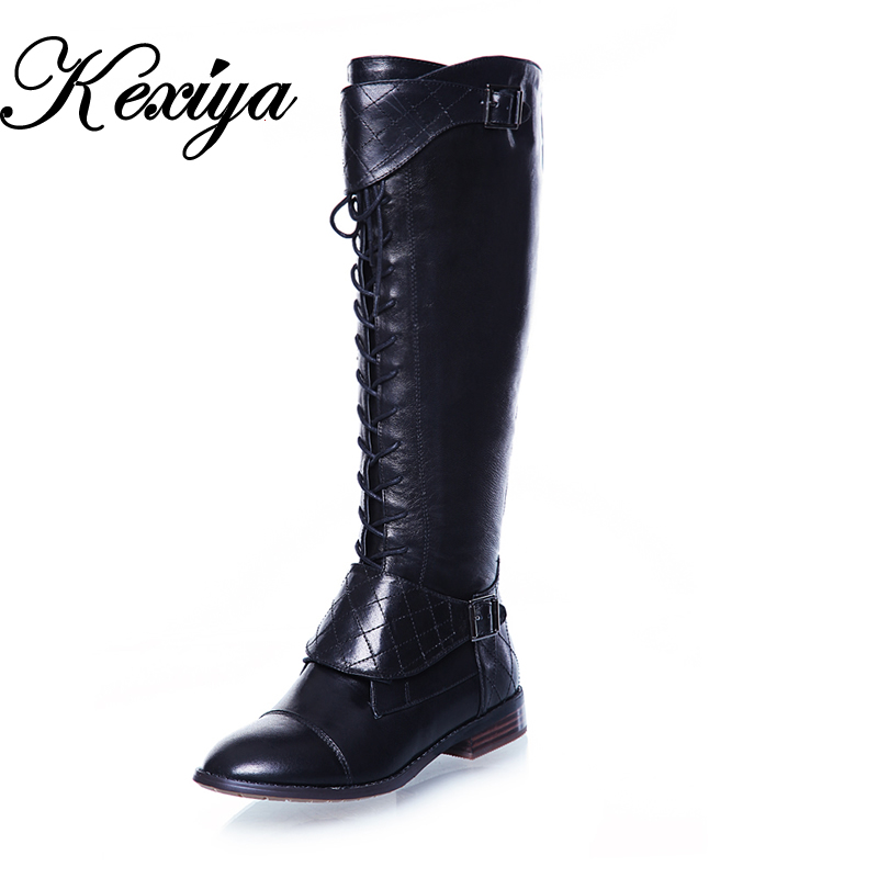 Fashion winter genuine leather women shoes leisure buckle decoration low heel botas big size 34-44 zipper Knee-High boots A01-3 2016 fashion women winter shoes big size 30 50 low heel botas slip on stretch thin leg over the knee boots 30 31 32 33 hqw a98