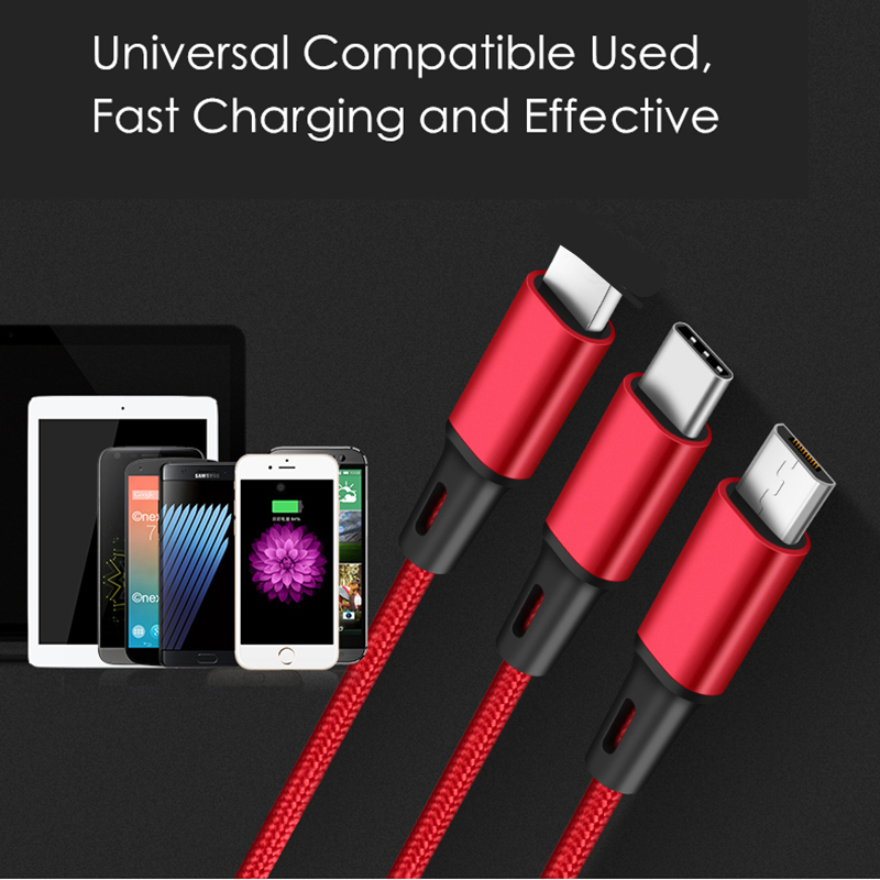 USB Cable 5V 2 4A 3 in 1 Fast Charging Fabric Braide Type C Micro USB Charger Cable for Xiaomi Wire Cord for iPhone iPad Cable in Mobile Phone Chargers from Cellphones Telecommunications