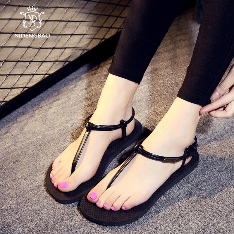 2018 Women Shoes Summer Beach Sandals Women Rome Flats Sandals Shoes for Woman Ankle Strap Simple lightweight Ladies Flip flops size 34 43 new 2016 low heel flats women s sandals flip flops women sandals spring summer ladies shoes woman good y0502217f