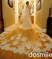 350 cm  veu de noiva lace edge white/ivory appliques wedding accessories cathedral long bridal Veil one layer Free Comb
