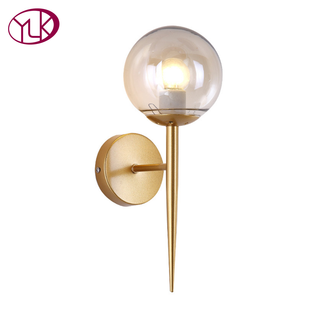 Youlaike Brief Modern Wall Lamp For Bedside Glass Lampshade Single Light Gold Sconce Creative Design Hallway