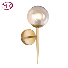 Youlaike Brief Modern Wall Lamp For Bedside Glass Lampshade Single Light Gold Wall Sconce Light Creative Design Hallway Light brief modern crystal gold wall lamp ofhead mirror stair single circle frha b25