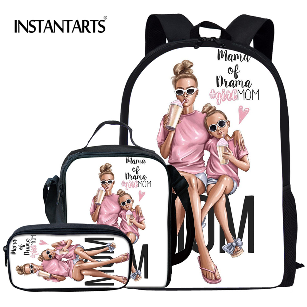 INSTANTARTS Super Family Mom Custom Bag School Bags For Girls Student Children School Backpack Satchel Kids Boy Book Bag Mochila