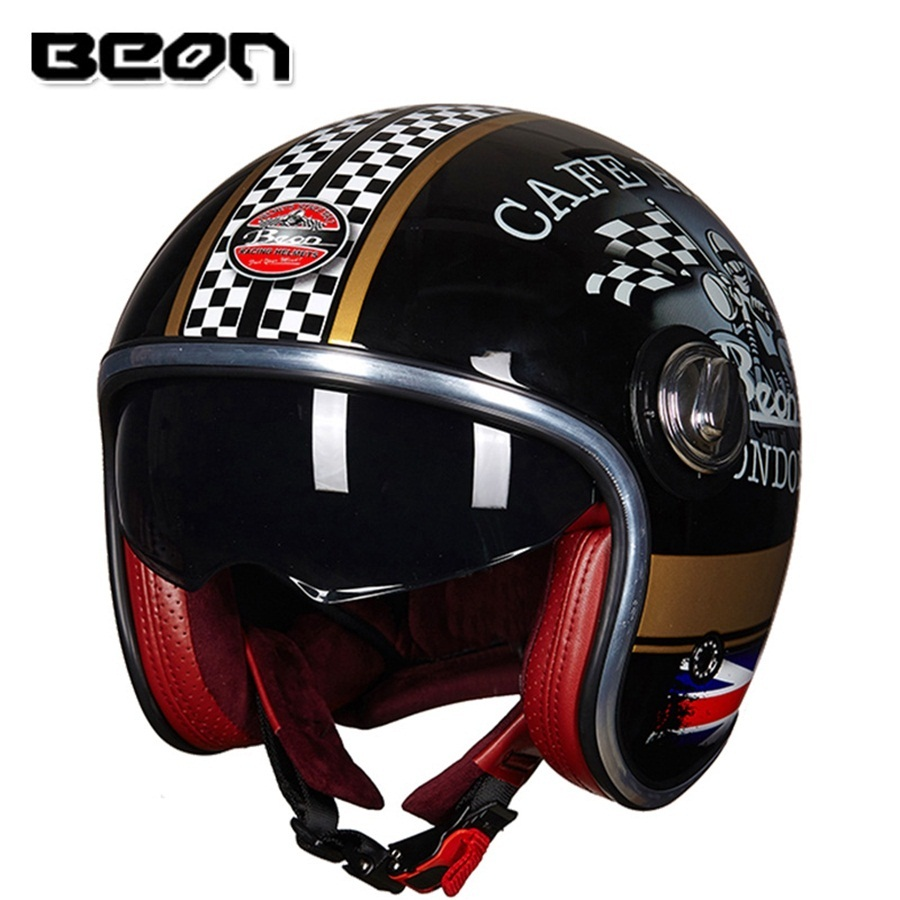 Free shipping 1pcs BEON 3 4 Open Face Motorcycle Harley Scooter Visor font b Helmet b