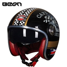 Il trasporto libero 1 pz BEON 3/4 Aperto Viso Moto Harley Scooter Visiera del Casco ECE DOT Cafe Racer Retro Moto D'epoca casco