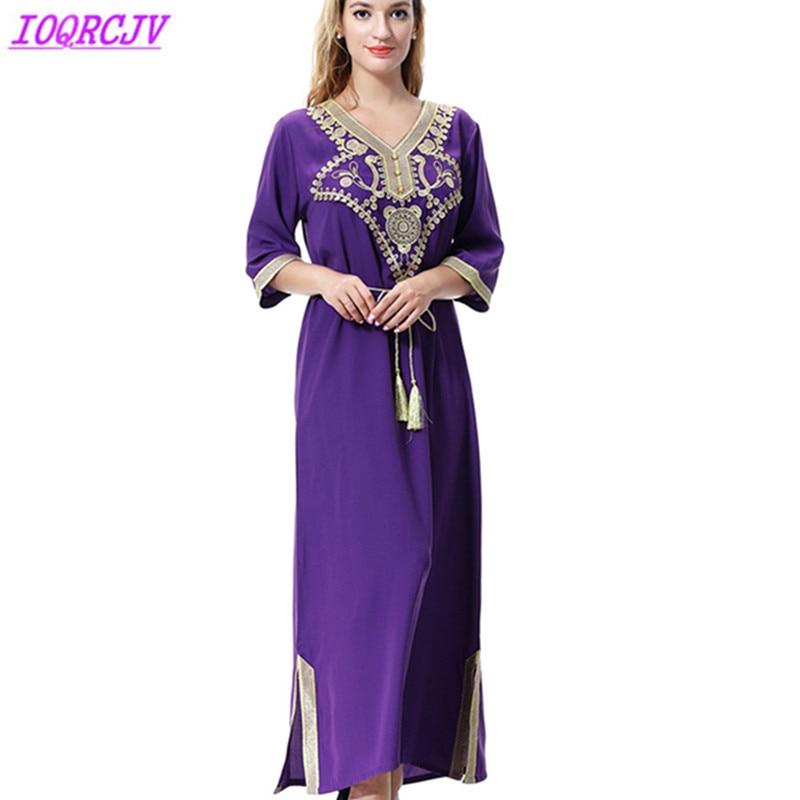 Long dress women Muslim dress summer maxi Islamic Abay caftan Plus size  dress vintage embroidery Indie ceeba25ea8ab