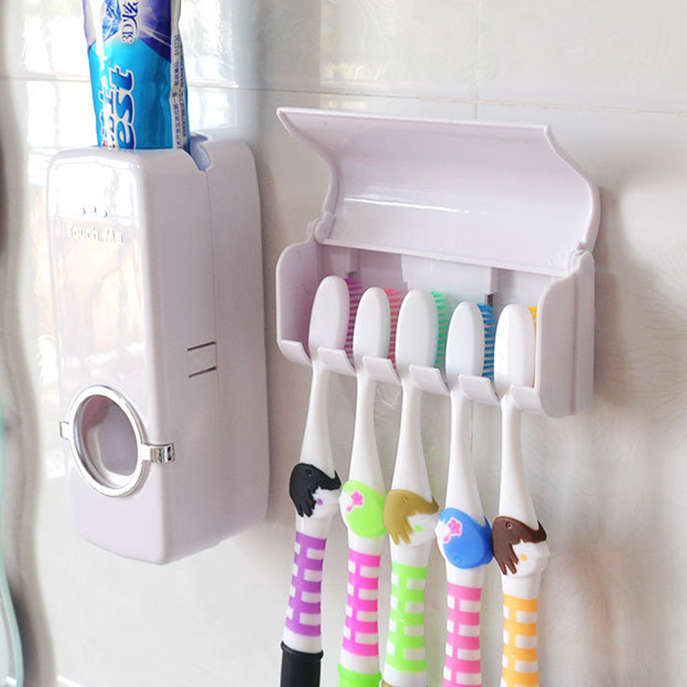 Bathroom Accessories white Automatic Toothpaste Dispenser and 5 ...
