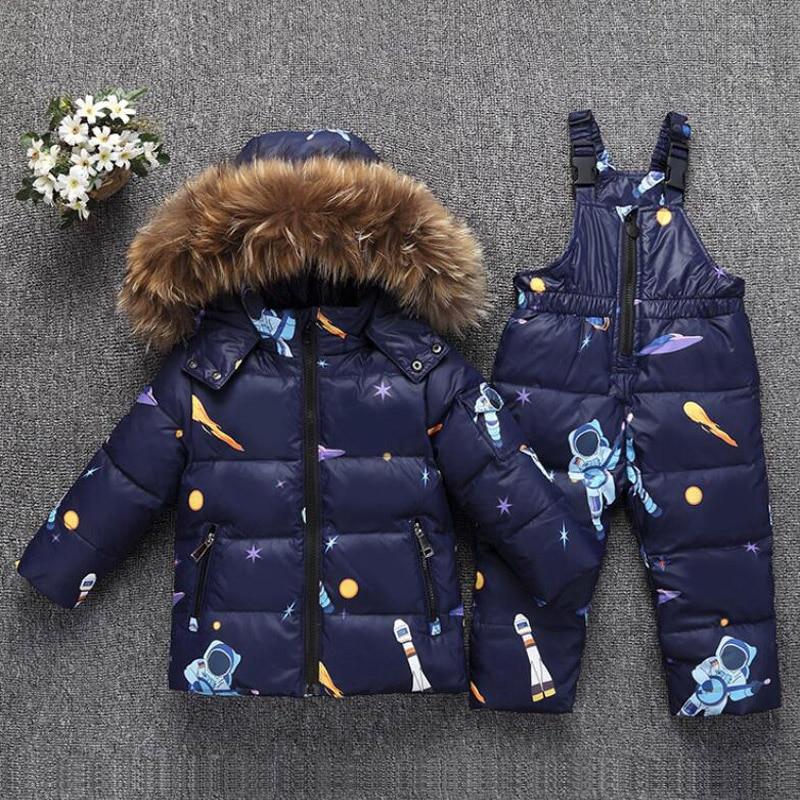 Garçon vêtements ensembles chaud enfant en bas Parka veste garçons hiver Snowsuit fourrure hiver fille costume canard vers le bas enfants manteau neige porter