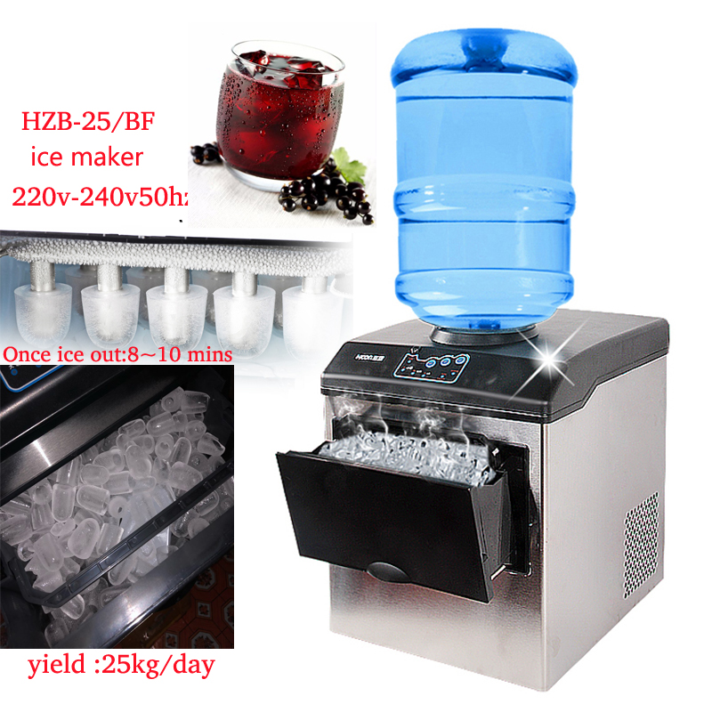 220-240V L/M/S Size  Electric Ice Maker 25kg/day Commercial Countertop Automatic Ice Making Machine Ice Cube Making Machine