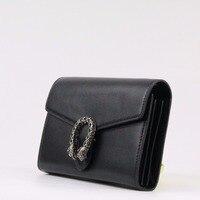 Genuine leather Women Clutch Bag Brand Wallet Long Classic Black Simple Chain Shoulder Bag Female Messenger Bag~18B6
