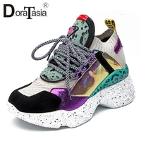 DoraTasia 2019 New Spring 35 42 Genuine Leather Suede Platform Sneakers Women Horsehair Dad Shoes Casual Flat Women Shoes Woman