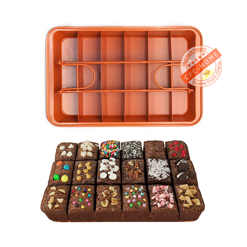 Brownie Copper Steel Nonstick Baking Pan with Built-In Slicer, Ensures Perfect Crispy Edges image