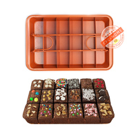 Brownie Copper Steel Nonstick Baking Pan with Built In Slicer, Ensures Perfect Crispy Edges