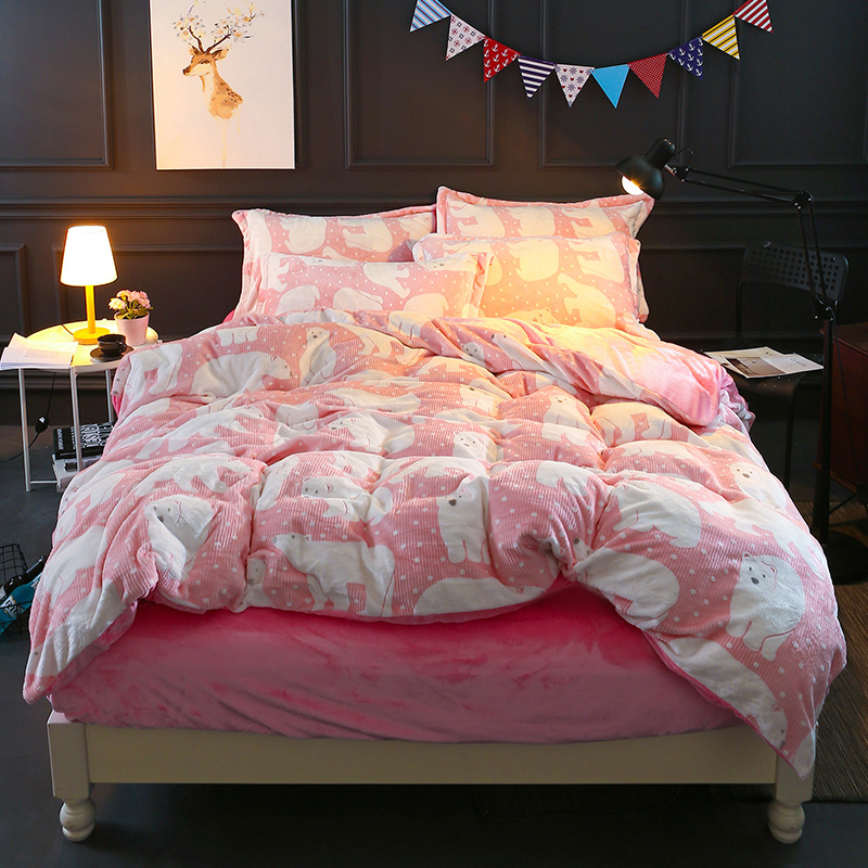 Polar bear print Bedding sets flannel Fabric 4Pcs Queen King Size bedlinens Pink Duvet Cover Flat Sheet Pillow Cases