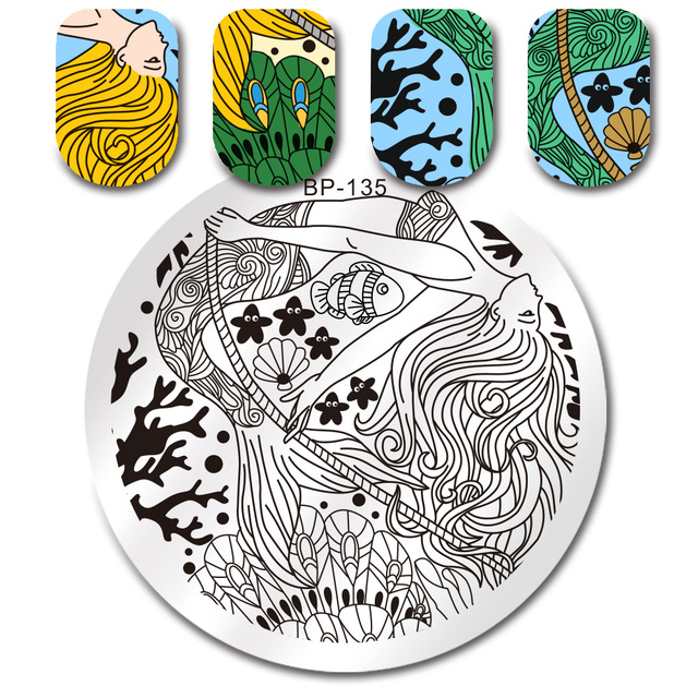 mermaid fish star round stamping template born pretty manicure nail