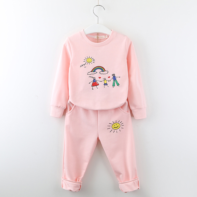 Kids Autumn Clothes Suits 2018 New Style Children Girls Printed Sports Clothes And Long Pants 2Pcs Cloth Sets 3-7Y Baby Clothes