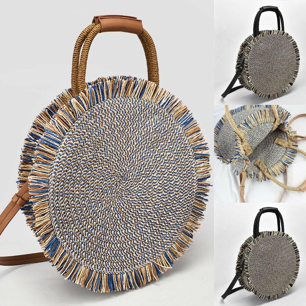 2019 mais novo saco de palha quente verão praia rattan artesanal borla sacos ombro vime tecer bolsa redonda crossbody|Bolsas de ombro|   - AliExpress
