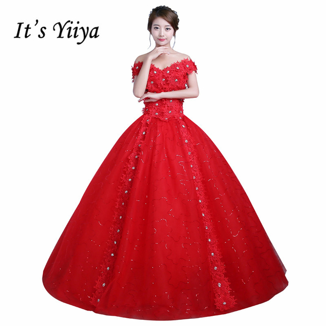 Real Photo Princess Sequins Lace up Boat Wedding Dresses Cheap Red ...