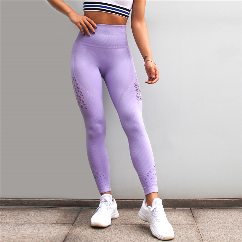 Diqian Super Stretchy Women Gym Tights Energy Seamless Tummy Control Yoga Pants High Waist Sport Leggings Purple Running Pants 4