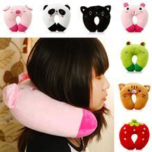 U Shaped Plush Pillow Travel Cartoon Animal Car Headrest Neck Soft Cushion