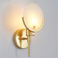 Post modern Round Marble Golden Wall Bedroom Wall Decoration Creative Bedside Lamp American Minimalist Corridor Small Wall Lamp